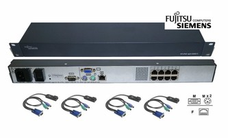 Fujitsu Siemens s2-0801 8 Port CAT5 IP KVM Switch +4ks Adapter