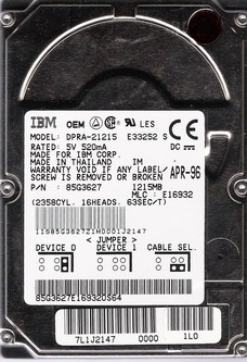 "IBM DPRA-21215 1.2GB 2.5"" IDE"